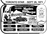 "AD FOR ""MURDERS IN THE RUE MORGUE & ABOMINABLE DR PHIBES"" PARK AND OTHER THEATRES"