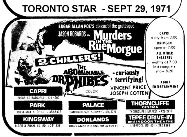 """AD FOR """"MURDERS IN THE RUE MORGUE & ABOMINABLE DR PHIBES"""" DONLANDS AND OTHER THEATRES"""