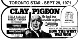 "AD FOR ""CLAY PIGEON YONGE AND NORTHWEST DRIVE-IN THEATRES"