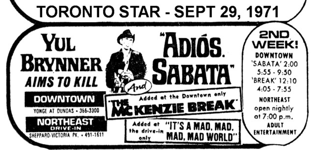 """AD FOR """"ADIOS SABATA"""" NORTHEAST DRIVE-IN AND DOWNTOWN THEATRES"""