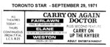 """AD FOR """"CARRY ON AGAIN DOCTOR & CARRY ON UP THE KHYBER"""" FAIRLAWN AND OTHER THEATRES"""