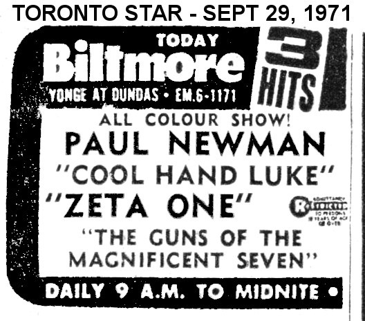 AD FOR THREE HITS BILTMORE THEATRE
