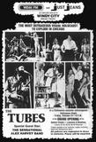 The 1st show at the Uptown, Halloween, 1975 starring The Tubes. Print ad designed by and courtesy of long time Chicago graphic artist Shelley Howard.