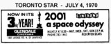 AD FOR 2001: A SPACE ODYSSEY 3RD YEAR GLENDALE THEATRE