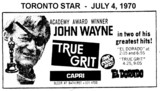"AD FOR ""TRUE GRIT & EL DORADO - CAPRI THEATRE"