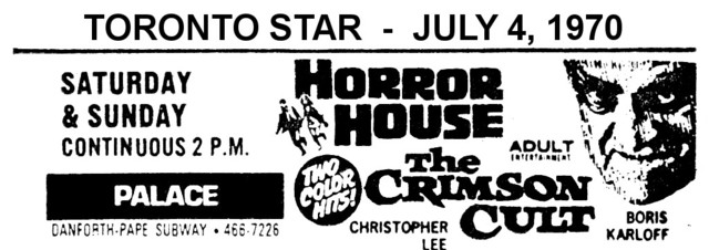 """AD FOR """"HORROR HOUSE & CRIMSON CULT"""" - PALACE THEATRE"""