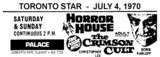 "AD FOR ""HORROR HOUSE & CRIMSON CULT"" - PALACE THEATRE"