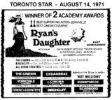 """AD FOR """"RYAN'S DAUGHTER - THE CINEMA AND OTHER THEATRES"""