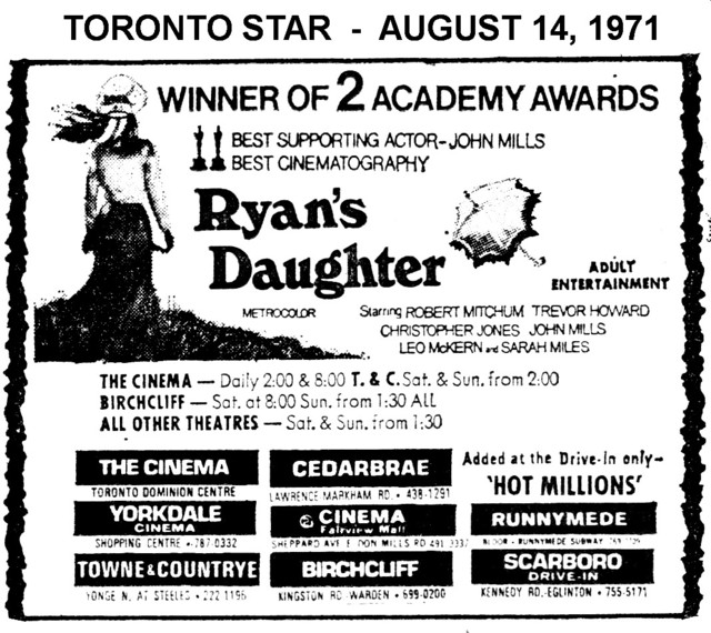 """AD FOR """"RYAN'S DAUGHTER - YORKDALE AND OTHER THEATRES"""