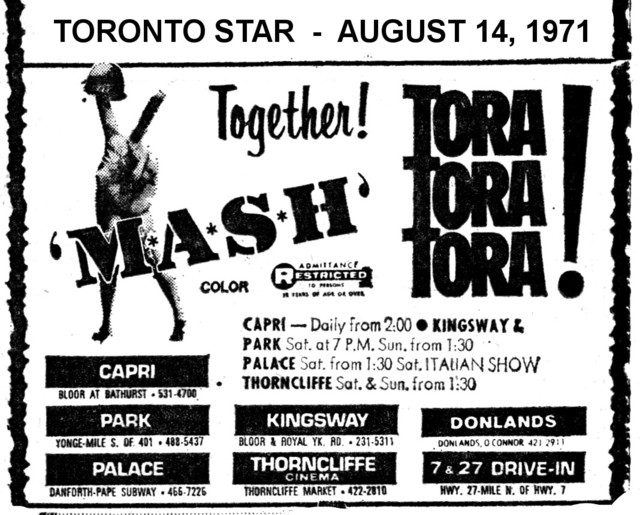"AD FOR ""MASH & TORA TORA TORA"" PALACE AND OTHER THEATRES"