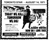 "AD FOR ""TODAY WE KILL TOMORROW WE DIE & HOW DO I LOVE THEE"" DOWNTOWN AND TEPEE DRIVE-IN THEATRES"
