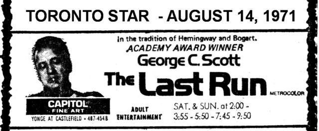 "AD FOR ""THE LAST RUN"" CAPIOTL FINE ART CINEMA"