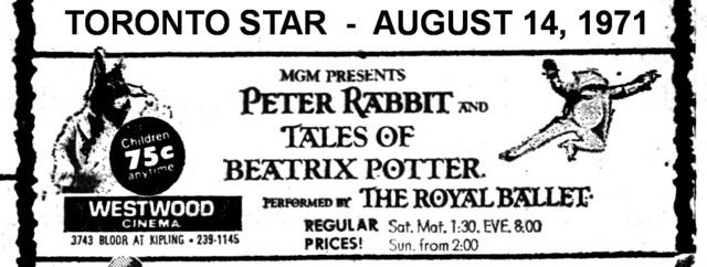 "AD FOR ""PETER RABBIT AND THE TALES OF BEATRIX POTTER"" WESTWOOD THEATRE"