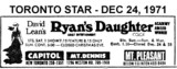"AD FOR ""RYAN'S DAUGHTER"" MOUNT DENNIS AND OTHER THEATRES"