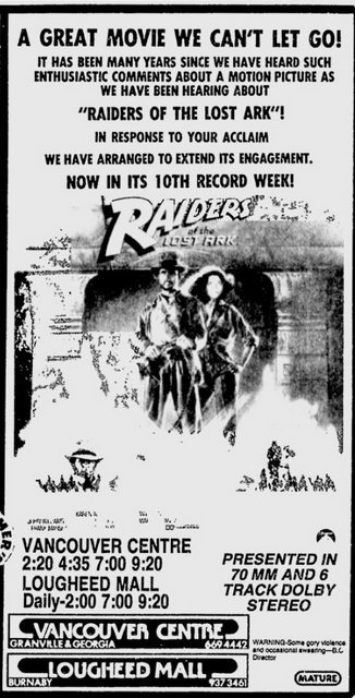 Raiders of the Lost Ark (1981) 70mm ad