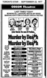 "AD FOR ""MURDER BY DEATH"" WESTDALE (HAMILTON) & OTHER THEATRES"