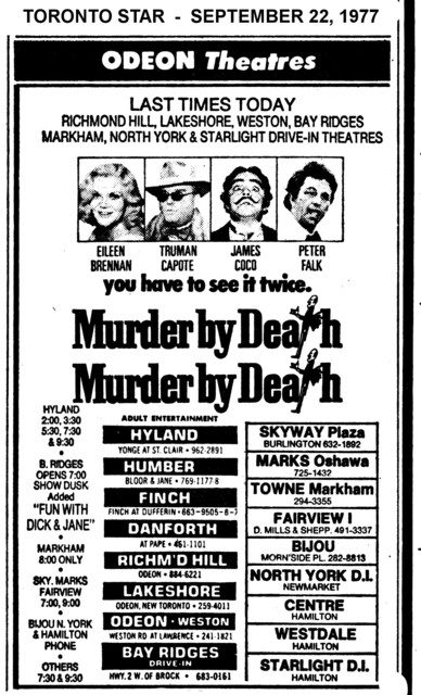 """AD FOR """"MURDER BY DEATH"""" BAY FAIRVIEW & OTHER THEATRES"""