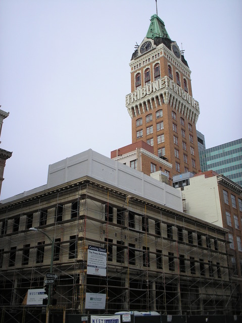 Pantages Building, rear, with Tribune Tower