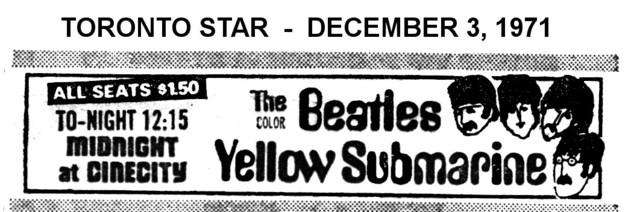 """AD FOR """"YELLOW SUBMARINE"""" CINECITY DECEMBER 3, 1971"""