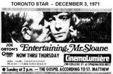 "AD FOR ""ENTERTAINING MR SLOANE"" CINEMALUMIERE THEATRE"