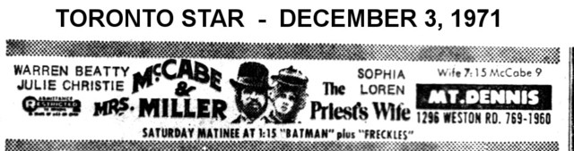 """AD FOR MACCABE AND MRS MILLER & THE PRIEST'S WIFE"""" MT DENNIS THEATRE"""