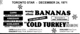 "AD FOR ""BANANAS & COLD TURKEY"" DONLANDS AND OTHER THEATRES"