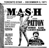 AD FOR M*A*S*H & PATTON - HUMBER THEATRE
