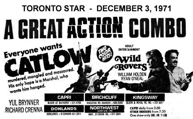 """AD FOR """"CATLOW & WILD ROVERS"""" - CAPRI AND OTHER THEATRES"""