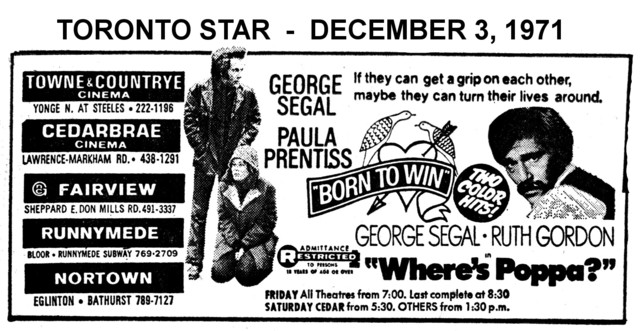 """AD FOR """"BORN TO WIN & WHERE'S POPPA"""" - CEDARBRAE AND OTHER THEATRES"""