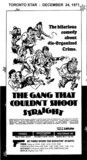 """AD FOR """"THE GANG THAT COULDN'T SHOOT STRAIGHT"""" WESTWOOD AND OTHER THEATRES"""