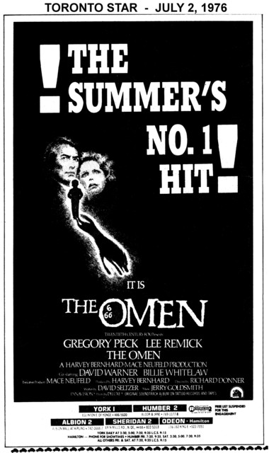 """AD FOR """"THE OMEN"""" - YORK 1 AND OTHER THEATRES"""