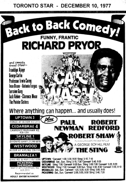 """AD FOR """"CAR WASH & THE STING"""" WESTWOOD AND OTHER THEATRES"""