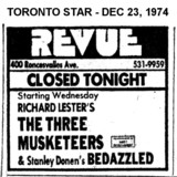 """AD FOR """"THREE MUSKETEERS & BEDAZZLED"""" REVUE CINEMA"""
