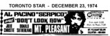 "AD FOR ""SERPICO & DON'T LOOK NOW"" - MOUNT PLEASANT CINEMA"