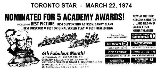 "AD FOR ""AMERICAN GRAFFITI"" TOWNE & COUNTRYE AND OTHER THEATRES"
