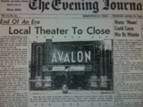 Avalon closing article, 1958