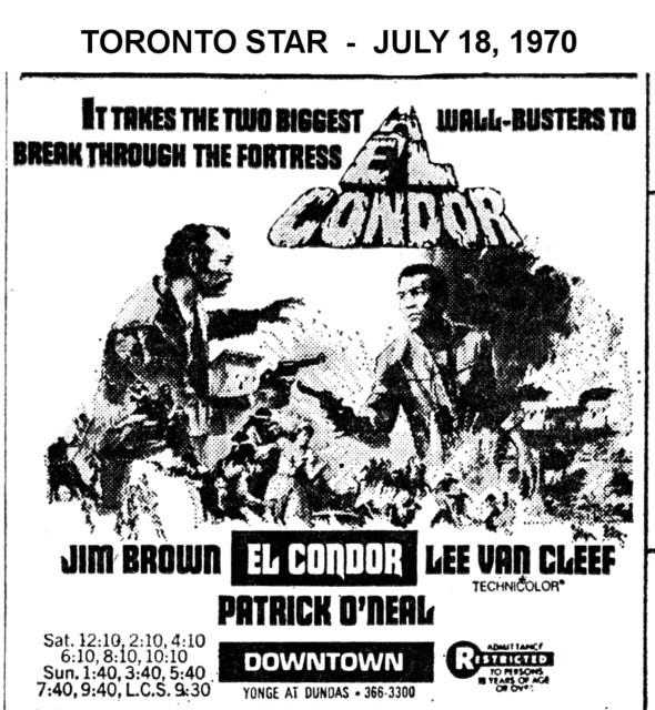 """AD FOR """"EL CONDOR"""" - DOWNTOWN THEATRE"""