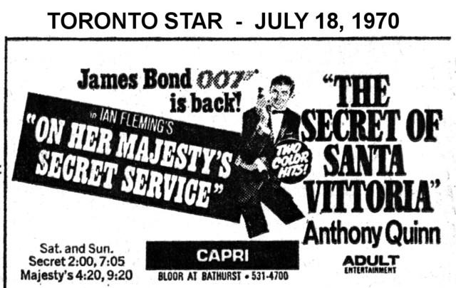 """AD FOR """"ON HER MAJESTY'S SECRET SERVICE & THE SECRET OF SANTA VITTORIA"""" - CAPRI THEATRE"""