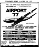 "AD FOR ""AIRPORT '77"" ODEON (BURLINGTON) AND OTHER THEATRES"