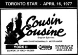 "AD FOR ""COUSIN COUSINE"" YORK 2 THEATRE"