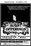"AD FOR ""BURNT OFFERINGS"" UPTOWN 2 AND OTHER THEATRES"