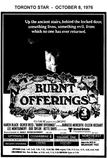 """AD FOR """"BURNT OFFERINGS"""" SQUARE ONE (MISSISSAUGA) AND OTHER THEATRES"""