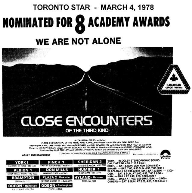 """AD FOR """"CLOSE ENCOUNTERS OF THE THIRD KIND"""" SHERIDAN 2 AND OTHER THEATRES"""