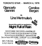 "AD FOR ""NIGHT FULL OF RAIN"" HOLLYWOOD THEATRE"