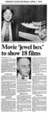 "AD FOR ""MOVIE 'JEWEL BOX' TO SHOW 18 FILMS - EATON'S CINEPLEX THEATRES"