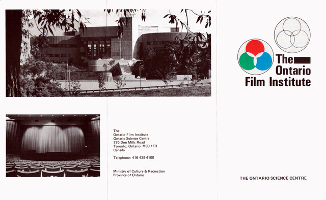 PAMPHLET FOR THE ONTARIO FILM INSTITUTE - ONTARIO SCIENCE CENTRE