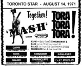 "AD FOR ""MASH & TORA TORA TORA"" THORNCLIFFE AND OTHER THEATRES"