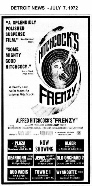 "AD FOR ""FRENZY"" - QUO VADIS AND OTHER THEATRES"