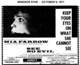 "AD FOR ""SEE NO EVIL"" - VANITY THEATRE"