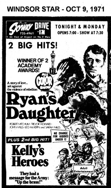 """AD FOR """"RYAN'S DAUGHTER & KELLY'S HEROES"""" - SKYWAY DRIVE IN THEATRE"""